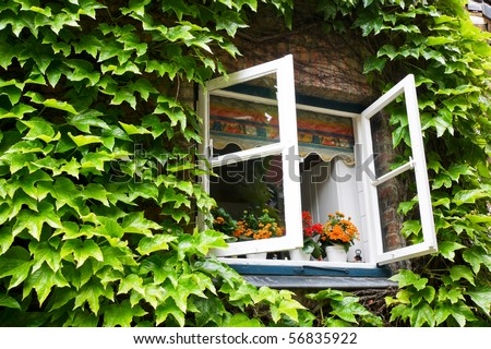 open window in rural house - stock photo
