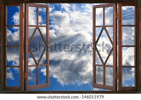 Open window in the sky - stock photo
