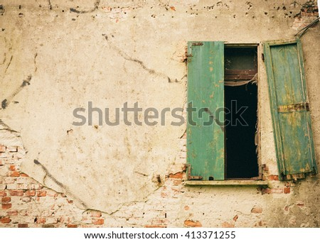 Open Window on the Dilapidated Facade of the Old Italian House, Instagram Effect - stock photo