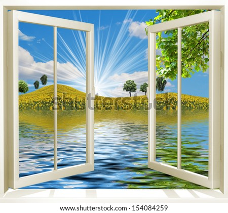 Open window overlooking the nature - stock photo