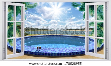 Open window overlooking the pool - stock photo