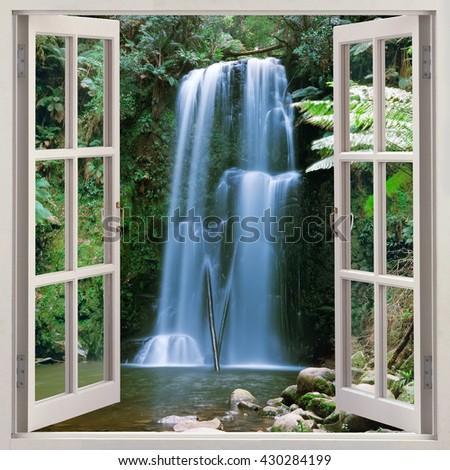 Open window panoramic view to Beauchamp Falls - stock photo