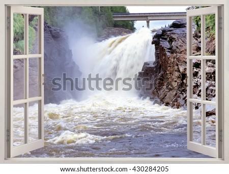 Open window panoramic view to  huge waterfall  - stock photo