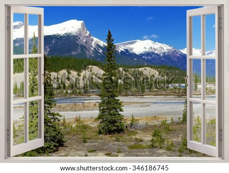 Open window panoramic view to snow peaks Rockies Mountains, Banff national park, Canada - stock photo