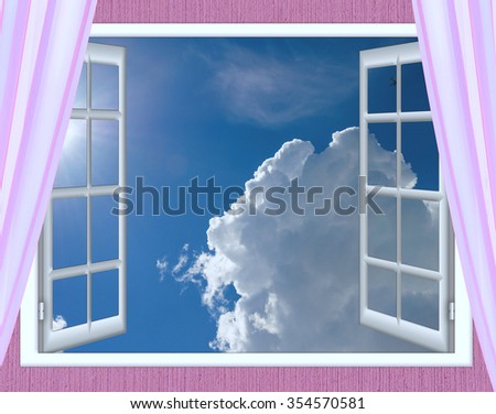 open window view of the sky with clouds sunrise
