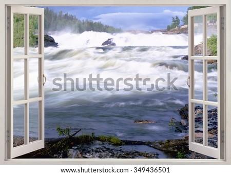 Open window view to famous Storfosen waterfall, Sweden - stock photo