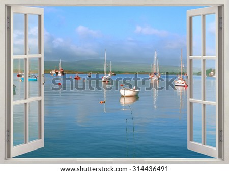 Open window view to harbor with boats and yachts - stock photo
