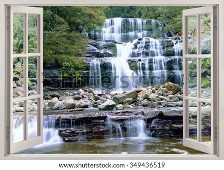 Open window view to Liffey Falls, Tasmania - stock photo
