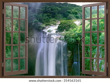 Open window view to spectacular Magwa Falls near Mbotyi Cape Province South Africa - stock photo