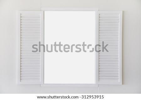 open window white wooden vintage empty frame - stock photo