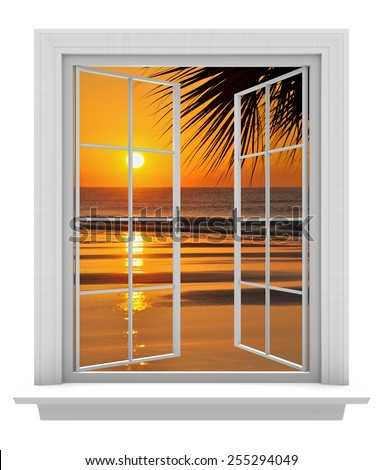 Open window with a tropical beach view and orange sunset - stock photo