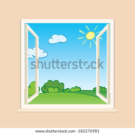 open window with green nature outside - illustration - stock photo