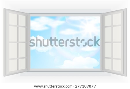 Open window, with real bright sunlight, clouds and blue sky - stock photo