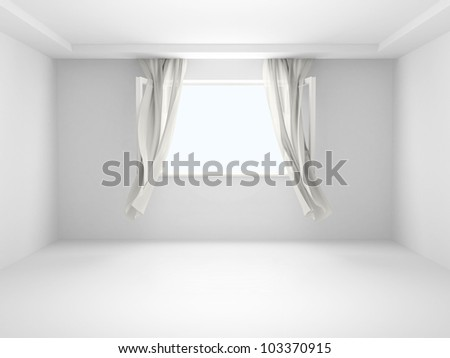 Open window with the curtains developed by a wind. - stock photo