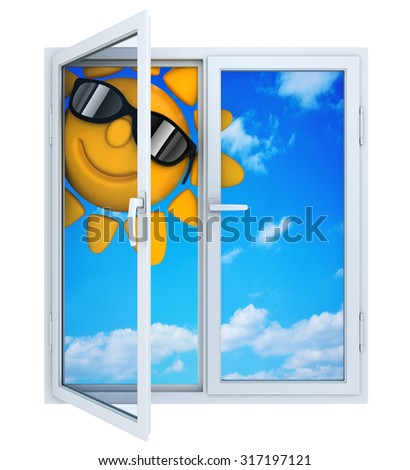 Open window with view of the sky (done in 3d) - stock photo