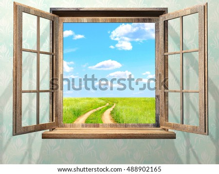 Open window with view on green field, blue sky, white clouds and old road. 3d render