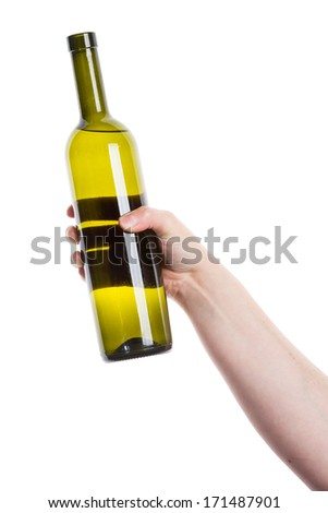 Open wine bottle in the hand isolated on white    - stock photo