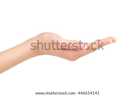 Open woman hand holding or giving on white background