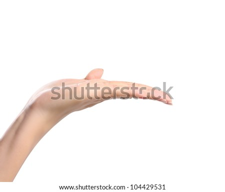 open woman hand Isolated on white background - stock photo