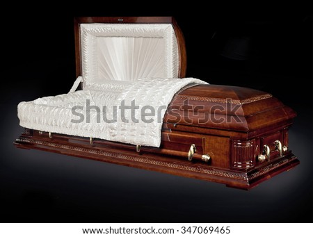 Open wood coffin isolated on white background. Ritual objects for burial. Conduct of the deceased on his last journey. Surrender body dust of the earth. Christian funeral ritual - stock photo