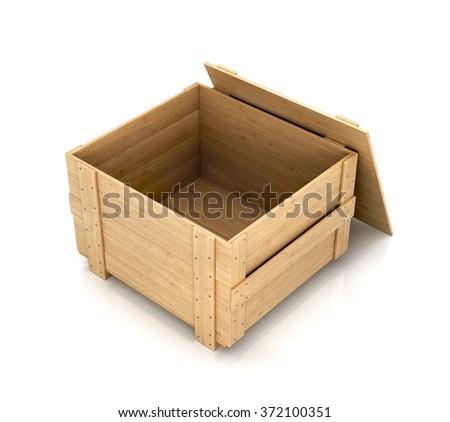 Open wooden box - stock photo