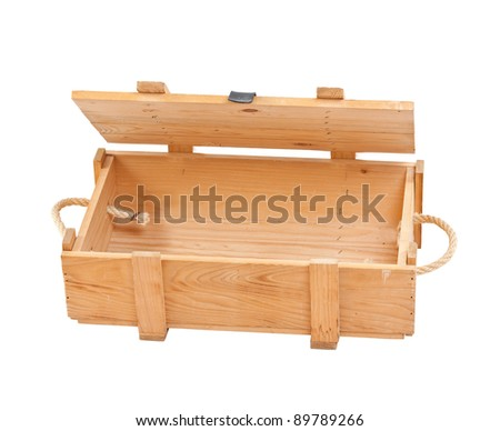open wooden box isolated in white