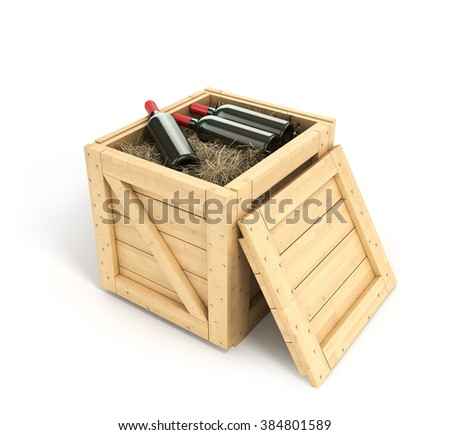 Open wooden box with bottles of wine inside isolated on white background - stock photo