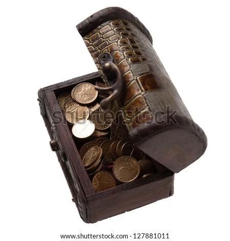 Open wooden box with coins, isolated on white background - stock photo