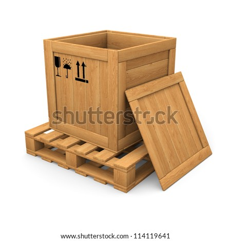 Open wooden box without lid on pallet. Packing signs print. Isolated on white. - stock photo