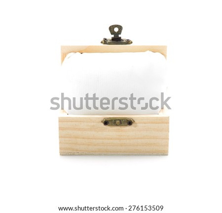 open wooden chest with white background - stock photo