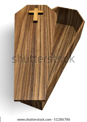 Open Wooden coffin isolated over white. 3d render. - stock photo