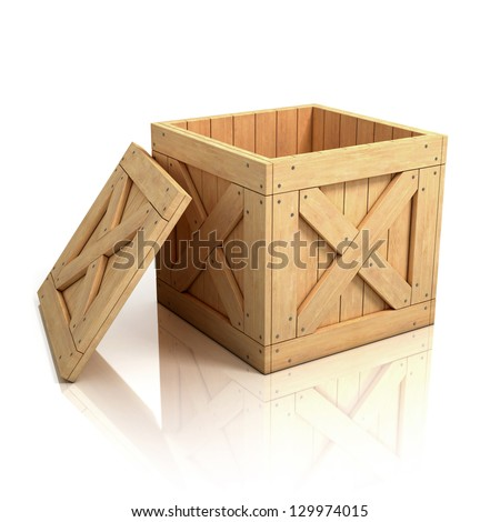 open wooden crate - stock photo