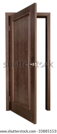 Open wooden door on a white background - stock photo