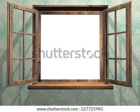Open wooden window. 3d render - stock photo