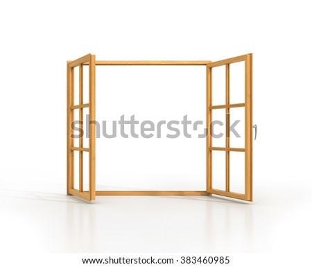 Open wooden window isolated on a white background. - stock photo