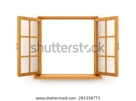 Open wooden window  isolated on white background - stock photo