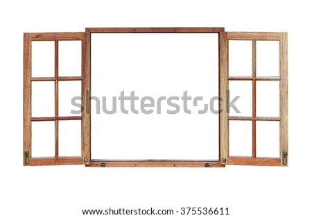 Open wooden window isolated on white background with clipping path. - stock photo