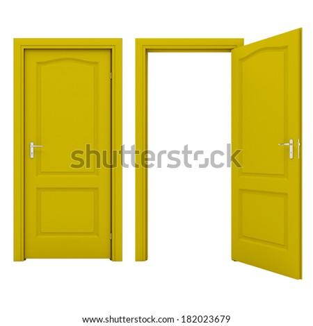 Open yellow door - stock photo