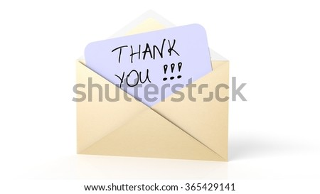 Open yellow envelope with Thank you! note, isolated on white. - stock photo