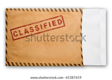 Open yellow envelope with top secret stamp and blank papers, on white background, clipping path. - stock photo