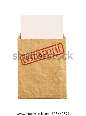 Open yellow envelope with top secret stamp and papers, isolated,  clipping path.