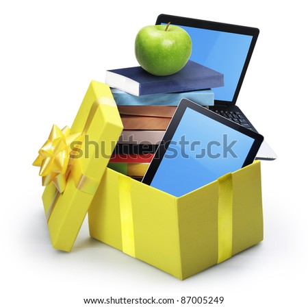 open yellow gift box - stock photo