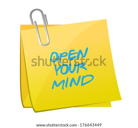 open your mind post message illustration design over a white background - stock photo