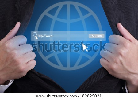 Open your search your website technology inside his body for show concept - stock photo