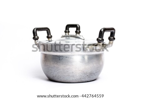 Open zinc cooking pot isolated on white with clipping path - stock photo