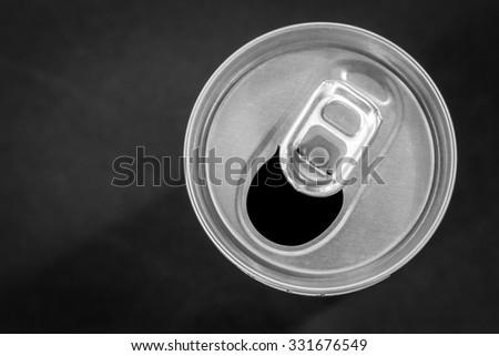 Opened aluminum can - stock photo