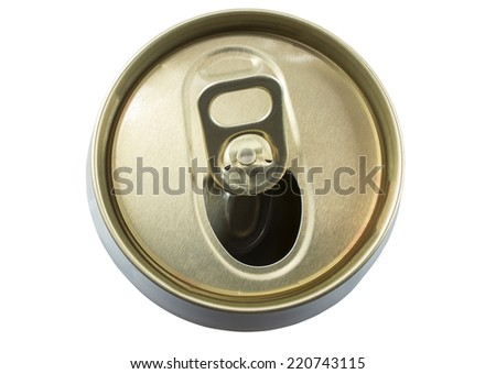 Opened aluminum can for soft drinks or beer