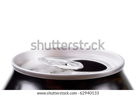 Opened aluminum can for soft drinks or beer. Macro. Isolated on white. - stock photo