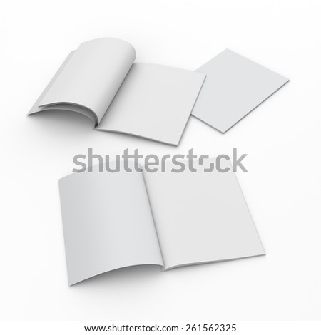 Opened and closed A4 format catalogs or magazines isolated
