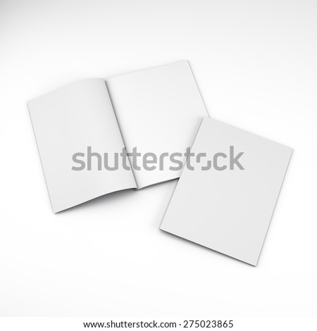 Opened and closed A4 format catalogs or magazines isolated - stock photo